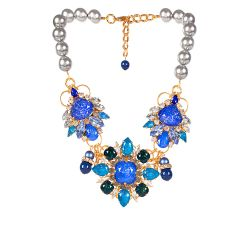 Vicki Sarge Blue and Grey Pearl Necklace