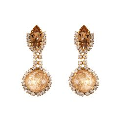 Vicki Sarge Champagne Round Drop Earrings