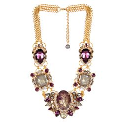 Vicki Sarge Purple and Grey Statement Necklace
