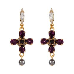 Vicki Sarge Purple and Grey Cross Drop Earrings