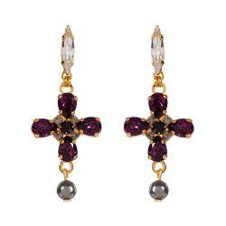 Vicki Sarge Purple and Grey Cross Drop Earrings