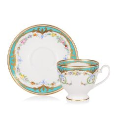Great Exhibition fine bone china teacup and saucer with a design featuring gold plated rims, gold decorative and pastel coloured floral patterns on both parts.