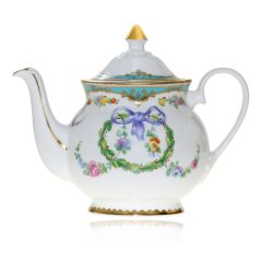 Great Exhibition fine bone china tea pot with a design featuring gold plated rims, gold decorative and pastel coloured floral patterns.