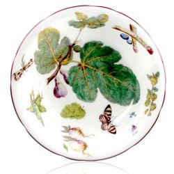 Chelsea Porcelain Salad Bowl featuring a botanical pattern on the inner and outer side.