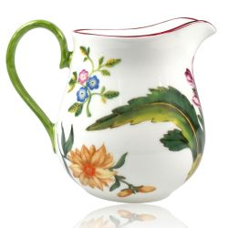 Chelsea Porcelain Cream Jug with a design featuring a botanical pattern on the inner and outer side.