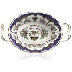 Queen Victoria fine bone china basket a with design featuring gold plated rims, Queen Victoria's name cipher on the inner side and floral patterns on the inner and outer sides.
