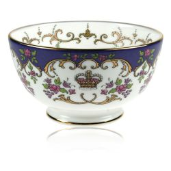 Queen Victoria fine bone china sugar bowl with a design featuring a coronet surrounded by floral patterns and gold plated rims.