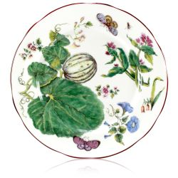 Chelsea Porcelain Dinner Plate with a design featuring botanical patterns.