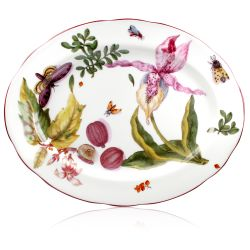 Chelsea Porcelain Oval Platter with a design featuring botanical patterns.