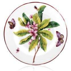 Chelsea Porcelain Side Plate with a design featuring botanical patterns.