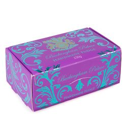 Purple and blue swirl box of fudge. The lion and unicorn crest is printed on top and the words 'Buckingham Palace' is also printed on the top of the box in blue