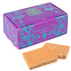 Buckingham palace branded English handmade fudge in a 230g decorative box.