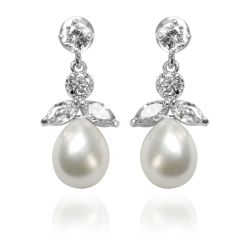 Pair of drop crystal earrings featuring a tear drop natural colour pearl supported by leave and circle shaped crystals.