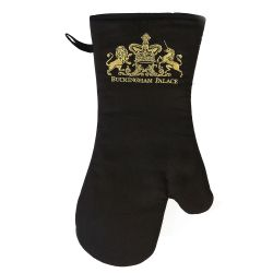 Buckingham Palace black cotton padded oven glove featuring a gold embroidered logo of a lion and unicorn royal crest and the words Buckingham Palace written under the crest.