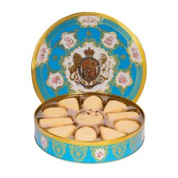 open tin of shortbread biscuits. The tin is decorated in a turquoise Coat of Arms design