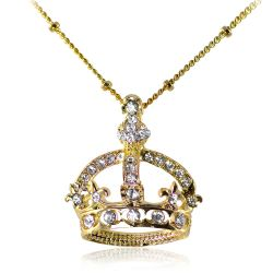 Queen  Victoria coronet gold pendant necklace with a design featuring a coronet embeded with sparkling crystals and a link chain with scattered beads.