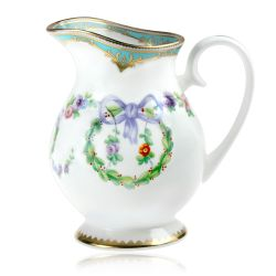 Great Exhibition fine bone china cream jug with a design featuring gold plated rims, gold decorative and pastel coloured floral patterns.
