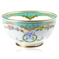 Great Exhibition fine bone china sugar bowl with a design featuring gold plated rims, gold decorative and pastel coloured floral patterns.