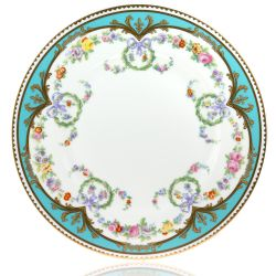 Great Exhibition fine bone china salad plate with a design featuring gold plated rims, gold decorative and pastel coloured floral patterns.