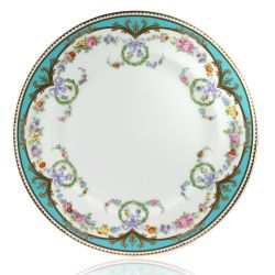 Great Exhibition fine bone china dinner plate with a design featuring gold plated rims, gold decorative and pastel coloured floral patterns.