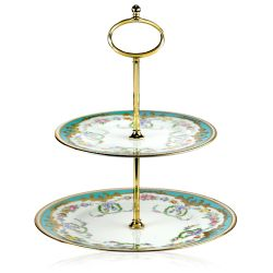 Great Exhibition fine bone china two tier cake stand with a design featuring gold plated rims, a gold plated metal handle and gold decorative and pastel coloured floral patterns.