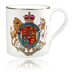 English fine bone china Royal Coat of Arms coffee mug featuring a lion and unicorn crest topped with a crown. the back of the mug has the words God Save The Queen writen in gold.