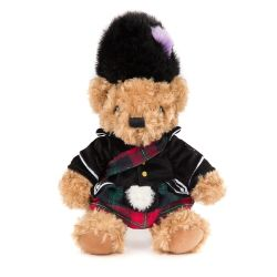 Royal Scottish Piper Teddy Bear plush toy for children featuring a uniform and bearskin hat inspired on The Queen's piper.