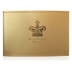 Buckingham Palace gold card wallet featuring a logo of the royal state crown with the words Buckingham Palace written under.