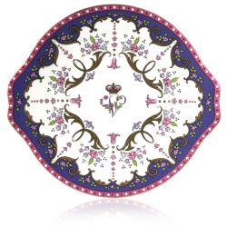 Queen Victoria sandwich plate with a design featuring Queen Victoria's name cipher surrounded by floral patterns and gold plated rim.