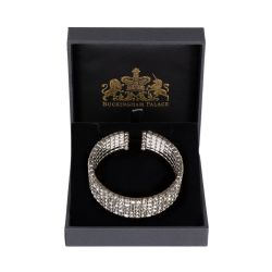 Royal Collection large crystal cuff bracelet featuring sprakling crystals embedded on palladium flexible base metal cuff.