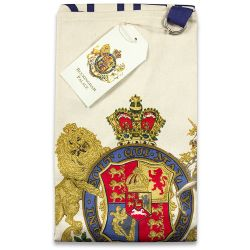 Buckingham Palace cotton apron featuring the words God Save The Queen written below the royal coat of arms