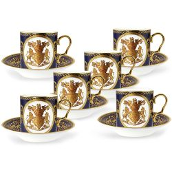 The full set of 6 English Fine Bone China lustre coffee cups and saucers featuring a gold hanoverian coat of arms surrounded by ornated patterns on a cobalt blue background and displayed in a giftbox.