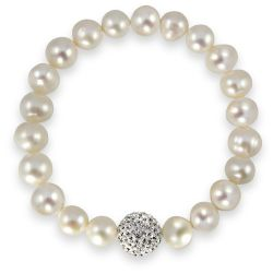 Buckingham Palace real white pearl bracelet with a crystal embeded cluster.