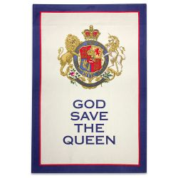 Buckingham Palace cotton tea towel featuring the words God Save The Queen written below the royal coat of arms.