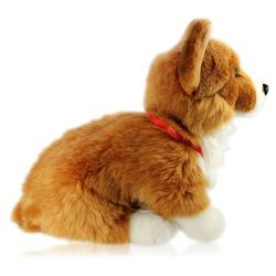 Royal corgi dog plush toy for children with Buckingham palace medallion.