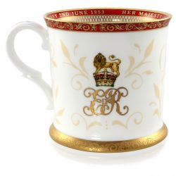 The official commemorative Coronation English fine bone china tankard with a design featuring a royal coat of arms cicled by gold ornamental features on a red background border.