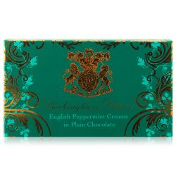 Buckingham Palace English handmade Peppermint Creams in Plain Chocolate box containing 14 individually wrapped chocolates.