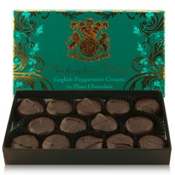 Buckingham Palace English handmade Peppermint Creams in Plain Chocolate box containing 14 individually wrapped chocolates.