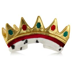 Buckingham palace gold dress up crown featuring adorned gold fabric spikes and a burgundy and white velvet band with adjustable velcro tight.