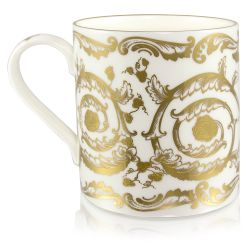 Victoria and Albert English fine bone china coffee mug featuring the ciphers of Queen Victoria and Prince Albert surmounted by a royal crown and surrounded by intricately ornated gold patterns.