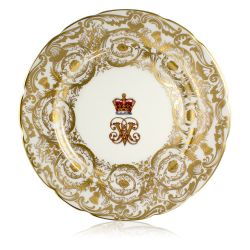 Victoria and Albert English fine bone china salad plate featuring the ciphers of Queen Victoria and Prince Albert surmounted by a royal crown and surrounded by intricately ornated gold patterns.