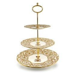 Victoria and Albert English fine bone china three tier cake stand featuring the ciphers of Queen Victoria and Prince Albert surmounted by a royal crown and surrounded by intricately ornated gold patterns.