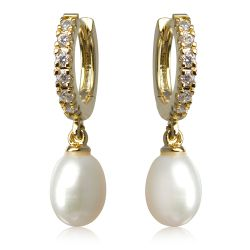 Gold crystal and white pearl drop earrings featuring a gold plated clasp with embedded crystals.
