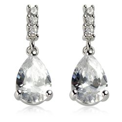 Royal Collection Crystal drop earrings featuring sprakling crystals embedded on palladium base metal.