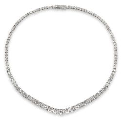 Royal Collection Crystal necklace featuring sprakling crystals embedded on palladium base metal.
