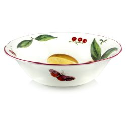 Chelsea Porcelain Cereal Bowl with a design featuring botanical patterns on the inner and outer side.