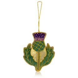Palace of Holyroodhouse Thistle fabric christmas decoration.