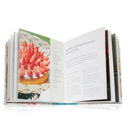 Illustrated front cover and pages from A Royal Cookbook: Seasonal recipies from Buckingham Palace book.