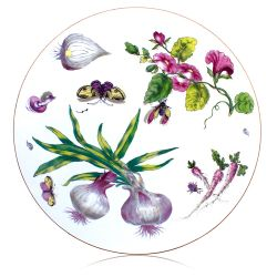 Circular table mat depicting a design of onions, leaves, butterflies