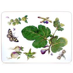 A serving mat with leaf, butterfly and turnip design